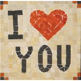 Mozaïek 'I Love You' Mozaïkit- Steen 17 x 17 cm