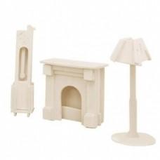 Bouwpakket Poppenhuismeubels Lamp/Schoorsten/Klok 1:12