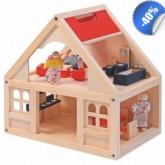 Poppenhuis van hout, volledig ingericht- UITVERKOOP
