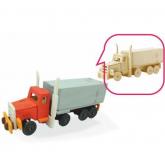 Bouwpakket Amerikaanse Truck met Oplegger, inclusief 4 kleuren verf